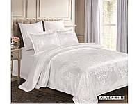Жаккардовое постельное белье евро размера Arya Jolanda белый AR42