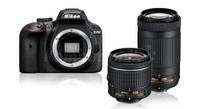 Зеркалки, Nikon D3400 + obiektyw AF-P DX 18-55 + AF-P DX 70-300 Czarny