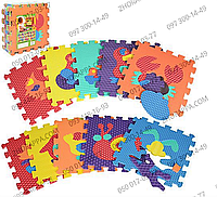 Коврик мозаика M 2616 EVA животные, краб, пазл, 6 текстур, массажный, 10 деталей, в кульке 31,5*31,5*10 см