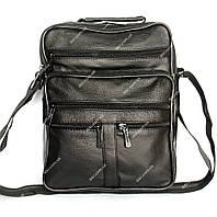 Мужская сумка черного цвета из натуральной кожи (8091 ч)