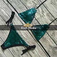 Женский стильный зеленый купальник