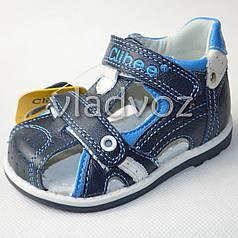 Босоножки сандалии для мальчика кожа синие 21р. Clibee