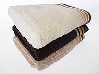 Махровое лицевое полотенце 100х50см (однотонное, полосы)