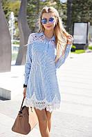 Модное женское платье мини с кружевным гипюром / Украина / коттон