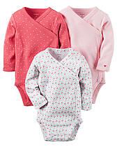 Боди с длинным рукавом для новорожденных девочек 0-3-6 мес. Боковая застежка Набор 3 шт. Carter's