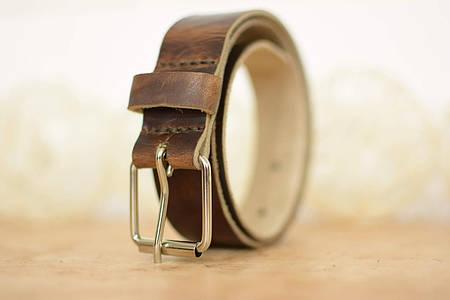 Детский кожаный ремень |10914| Вишневый (с белой пряжкой)