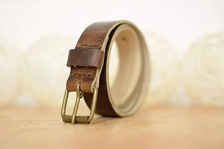 Детский кожаный ремень |10915| Вишневый (с латунной пряжкой)