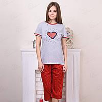Комплект-двойка женский: футболка и бриджи в горох с принтом Сердце Falcon Faun Турция FLKN3541 10234928 (4 ед. в упаковке)