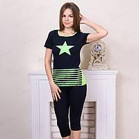 Комплект-двойка для дома женский: футболка и бриджи с принтом Star Suxe Турция sks10175 10234982