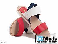 Тканевые цветные босоножки на низком ходу красные