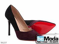 Двухцветные замшевые женские туфли-лодочки Meideli черный и красный