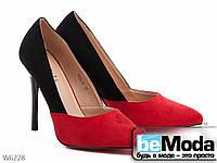 Двухцветные замшевые женские туфли-лодочки Meideli черный и бордовый