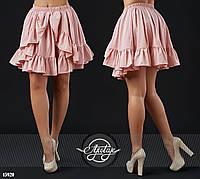 Стильная юбочка с оборками розовая