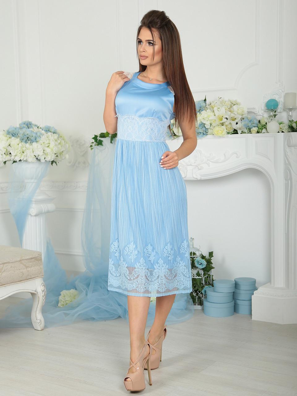 Нарядное голубое Платье Валерия