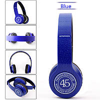 Беспроводные Bluetooth наушники P45 WIRELESS FM/MP3/ bluetooth/SD/микрофо, BLUE  (в стиле monster beats solo)