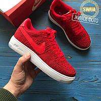 Мужские Кроссовки Nike Air Force 1 Low Flyknit University Red Красные