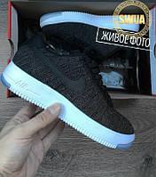 """Мужские Кроссовки  Nike Air Force 1 Ultra Flyknit Low """"Black""""  Черные  с Белым"""