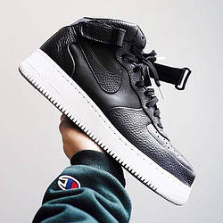 Мужские Кроссовки NikeLab Air Force 1 Mid Leather  Черные