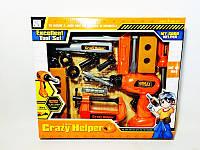 Игровой набор для мальчиков  Набор инструментов 3288-D2 -15дет., дрель сверлит (механичн.), насадки, молоток,