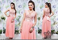 Женское вечернее платье в пол гипюр + большая шифоновая юбка + сатиновый пояс( не пришит) БО454