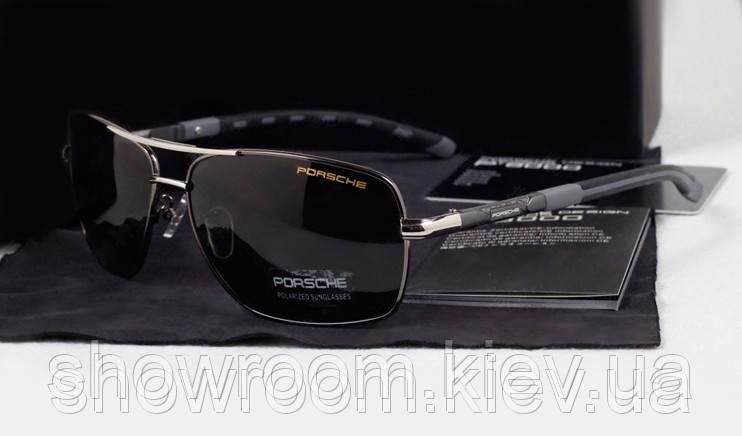 Солнцезащитные очки в стиле Porsche Design c поляризацией (p8724) серая дужка