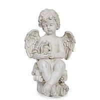 Статуэтка ангелочка на колонне с зайцем 35 см из полистоуна