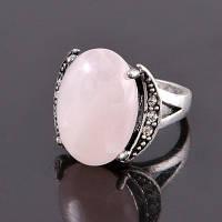 """Кольцо из натурального розового кварца """"Сердце ангела"""""""