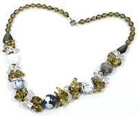 """Коллекция """"Подарок в год Змеи"""" - Вечернее ожерелье из Агата, кварца и чешского хрусталя"""