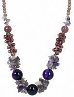 """Коллекция """"Подарок в год Змеи"""" - Вечернее ожерелье из Фиолетового Агата, Аметиста, кварца и чешского хрусталя."""