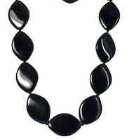 """Ожерелье из лепестков черного прессованного Агата """"Плющ"""""""