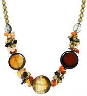 """Коллекция """"Подарок в год Змеи"""" - Ожерелье из монет сердоликового Агата и крошки самоцветов"""