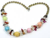 """Коллекция """"Подарок в год Змеи"""" - Вечернее ожерелье из Самоцветов, кварца и чешского хрусталя."""