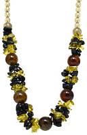 """Коллекция """"Подарок в год Змеи"""" - Вечернее ожерелье из Болотного Агата, сердолика, кварца и чешского хрусталя."""