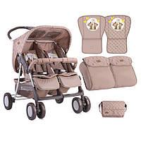 Детская прогулочная коляска для двойни TWIN BEIGE DAISY BEARS ТМ Lorelli (Bertoni) 10020071730