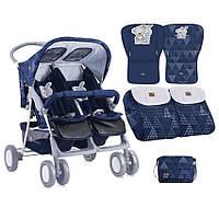 Детская прогулочная коляска для двойни TWIN DARK BLUE FRIENDS ТМ Lorelli (Bertoni) 10020071712