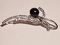 Срібна брошка з перлами і фіанітами. Артикул 904-00305-10Ч