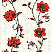 Обои бумажные Деми 1266 красно-белый, фото 1
