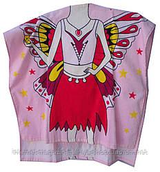 Пончо-полотенце детское для девочки бабочка с капюшоном