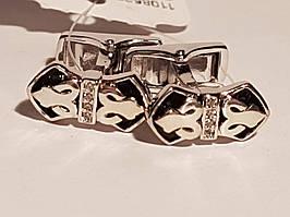 Срібні запонки з емаллю. Артикул 907-00252