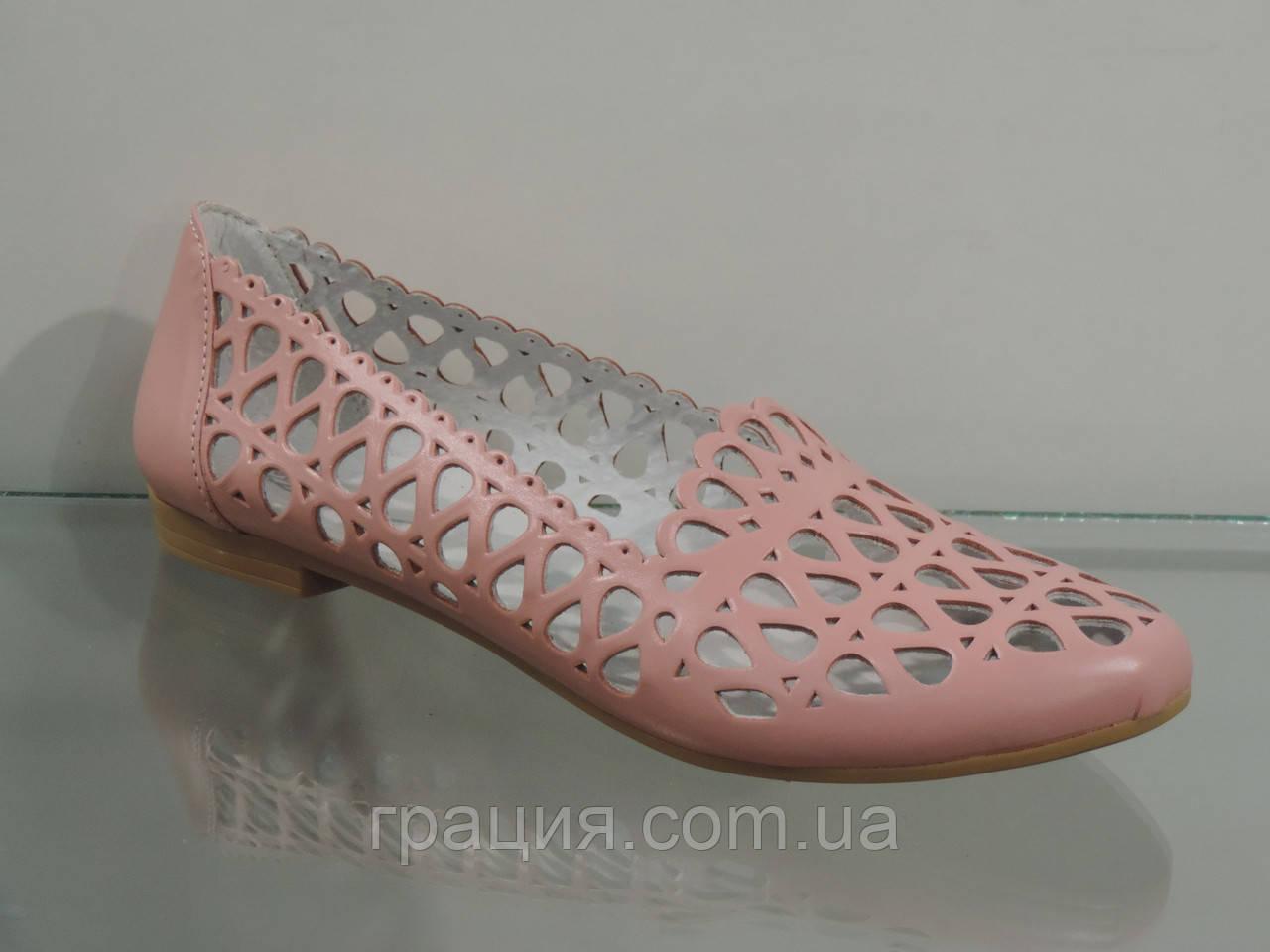Літні жіночі шкіряні туфлі