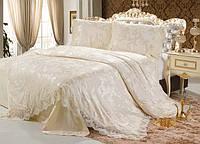 Постельное белье класса люкс Blumarine сатин-жаккард с кружевом евро размер золотисто-бежевый
