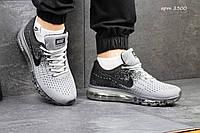 Мужские кроссовки Nike Flyknit Max, сетка, серые с черным / кроссовки мужские  Найк Флукнайт Макс, удобные