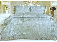 Постельное белье класса люкс Blumarine сатин-жаккард с кружевом евро размер оливковый