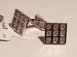 Серебряные запонки с фианитами. Артикул 907-00120