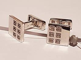 Серебряные запонки с фианитами. Артикул 907-00118
