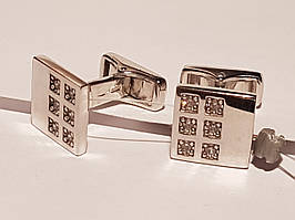 Срібні запонки з фіанітами. Артикул 907-00118