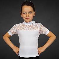 Белая нарядная школьная блуза для девочки с коротким рукавом р.36