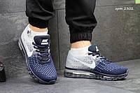 Мужские кроссовки Nike Flyknit Max, сетка, серые с синим / беговые кроссовки мужские  Найк Флукнайт Макс