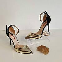 Туфли черные с золотом