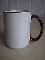 Чашки с цветной каемкой 425 мл, фото 1